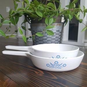 Vintage Corningware Blue Cornflower Pans